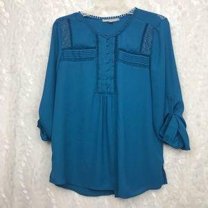 ❌SOLD❌Daniel Rainn blue l/s blouse half button